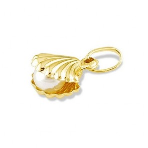 14K gold Pearl in Shell charm EJCM26531
