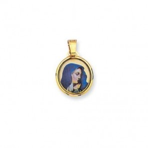 14K gold enamel Virgin Mary medal EJM27005