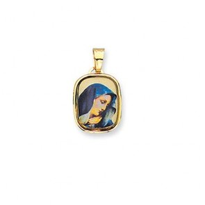 14K enamel Virgin Mary medal EJM27006
