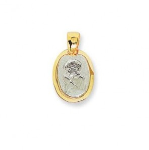 14K two tone Holy Communion boy medal EJM27101