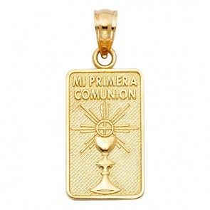 14K yellow gold My First Communion medal EJM27605