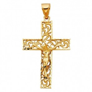 14K yellow filigree crucifix EJCR27913