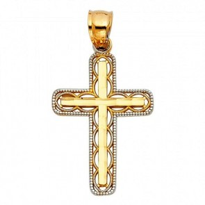 14K two tone filigree cross EJPT118