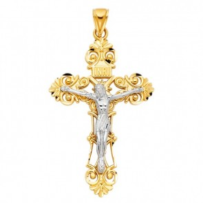 14K yellow & white INRI crucifix EJCR28118