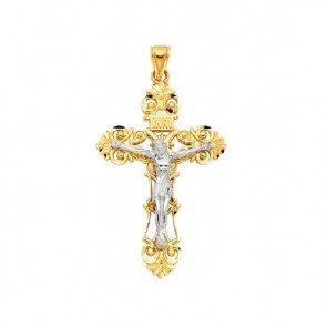 14K yellow & white gold crucifix EJCR28119
