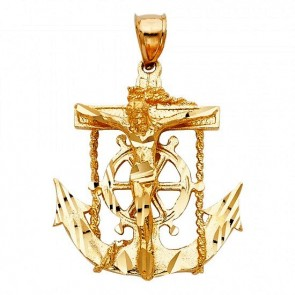 14K yellow Mariner's Crucifix EJCR28304