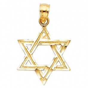 EJCM28716 - Solid 14K yellow gold Star of David pendant