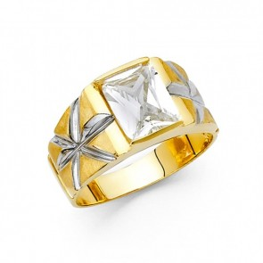14K yellow gold CZ ring EJMR29202