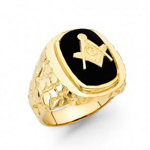 EJMR29524 - Men's 14K Yellow Gold Black Onyx Masonic Ring