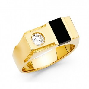 EJMR29634 - Men's Solid 14K Yellow Gold In-laid Onyx CZ Ring