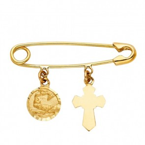 14K gold Baptism safety pin EJCM30131