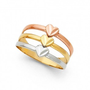 14K tricolor gold D/C Hearts ring EJLR30445