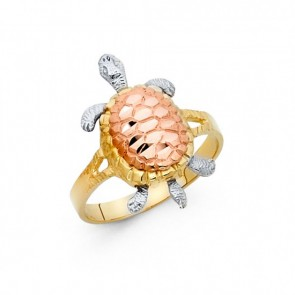 14K tricolor gold Turtle ring EJLR30415
