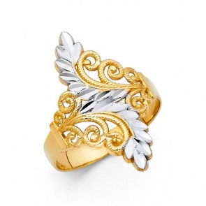 14K Filigree Leaf Ring EJLR30714