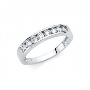 14K white Half Eternity CZ ring EJLR31230W