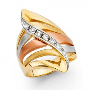 14K tricolor fancy ring EJLR32706