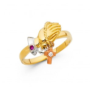 14K tricolor Praying Hands ring EJR32806