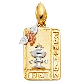 14K tricolor Communion medal EJM33503