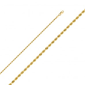 "14K yellow gold 2mm 20"" Rope Chain EJCN35124"