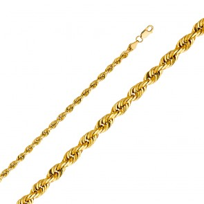 "EJCN35129 - Solid 14K Yellow Gold 5mm 26"" D/C Rope Chain"