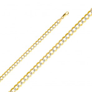 "14K Two-tone Gold 7mm Cuban Chain 24"" EJCN35433"