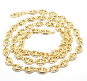 "EJCN35508X - Solid 14K Yellow Gold 9mm Puffed Anchor 22"" Chain"