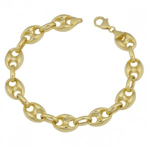 "EJCN35508X - Solid 14K Yellow Gold 9mm Puffed Anchor 8"" bracelet"