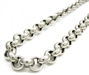 EJCN35529 - 14K WHITE GOLD 5mm HOLLOW ROLO CHAIN