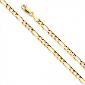 "14K Yellow Gold 3.5mm Figaro 3+1 Chain 16"" EJCN35602"