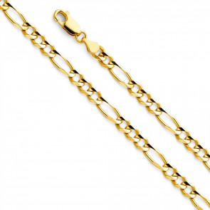 "14K Yellow Gold 4.5mm Figaro Chain 22"" EJCN35603"
