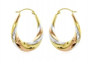 14K tricolor earrings EJER3881TR