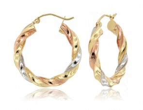 14K tricolor gold Twist Hoop Earrings EJER83112
