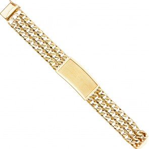 EJAB379 - Solid 14K yellow gold Triple Curb link men's ID bracelet