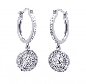 EJACE00059 - Sterling Silver Hoop With Dangle Disc Micro Pave Earrings