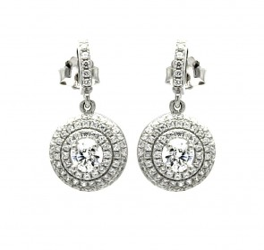 EJACE00072 - Elegant Sterling Silver  round shape dangle CZ earrings