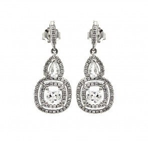 EJACE00076 - Fancy Sterling Silver dangle earrings with CZ accents