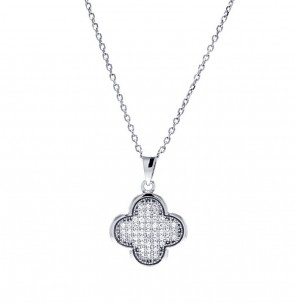EJACP00049 - Elegant Sterling Silver Micropave CZ Flower pendant