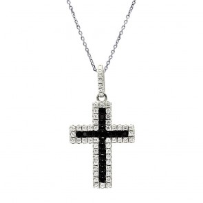 EJACP00079 - Fancy Sterling Silver Cross pendant with black and white CZ accents