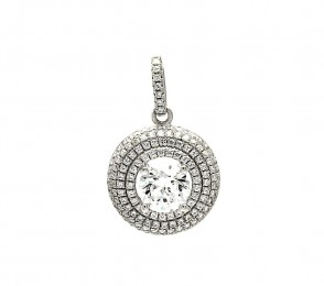 EJACP00084 - Elegant Sterling Silver round shape dangle CZ pendant