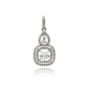 EJACP00087 - Fancy Sterling Silver dangle pendant with CZ accents