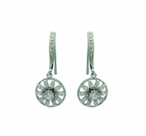 EJBGE00324 - Elegant Sterling Silver flower dangle earrings with CZ accents