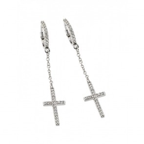 EJBGE00375 - Elegant Sterling Silver cross dangle earrings with CZ accents