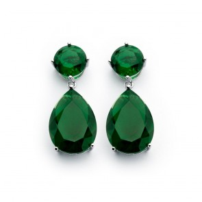EJBGE00858G - Classic emerald green CZ dangle sterling silver earrings