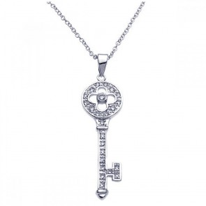 EJBGP00246 - Solid Sterling Silver clover key pendant with CZ accents
