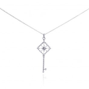 EJBGP00273 - Fancy Sterling Silver key pendant with CZ accents