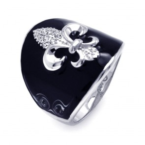 EJBGR00195 - Silver Fleur De Lis ring with black enamel and CZ accents
