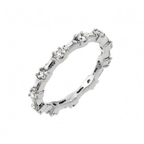 EJBGR00762 - Fancy Sterling Silver ring with round & baguette CZ stones