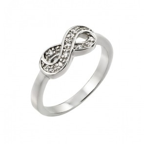 EJBGR00769 - Sterling silver infinity ring with CZ accent