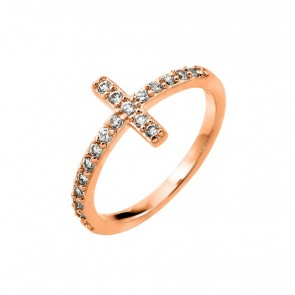 EJBGR00783RGP - Elegant sterling silver Cross ring in rose gold plated