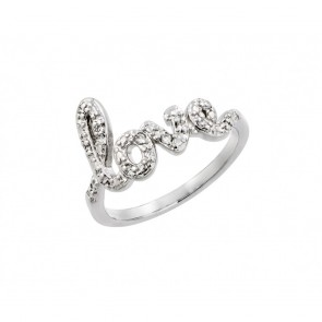 EJBGR00787RHD - Elegant sterling silver LOVE ring with CZ accents